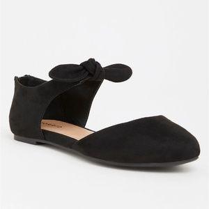 Torrid Black Bow Tie Faux Suede Flats D'orsay 9W